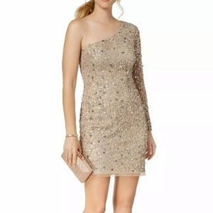 NWT Adrianna Papell Sequin Nude One Shoulder Dress